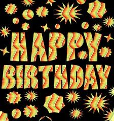 Happy birthday billboard with multicolored grunge inscription