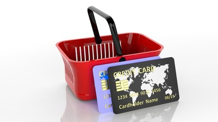 Shopping hand basket with two credit cards isolated on white