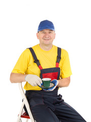 Worker with cup of tea