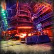 Leinwanddruck Bild - blast furnace production, metallurgy