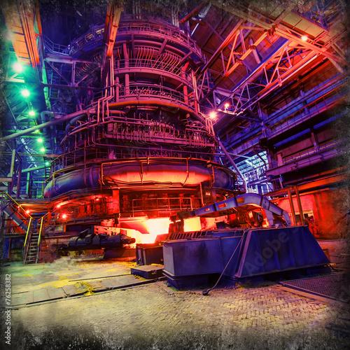 Leinwanddruck Bild blast furnace production, metallurgy
