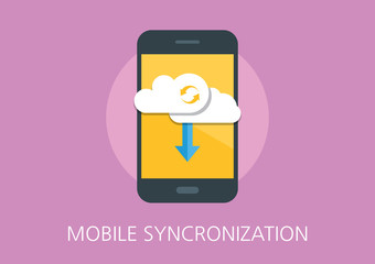 mobile syncronization concept flat icon