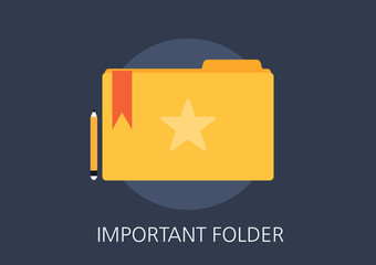 important folder concept flat icon