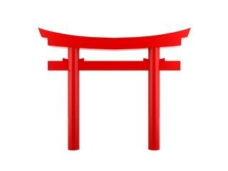 Single red Japanese gate Torii on white background