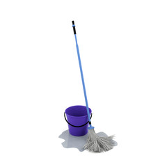 Mop and bucket with water on the floor