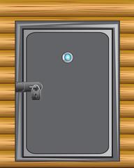 Iron door in wall