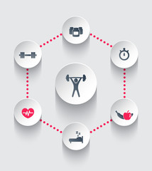 aspects of gym training vector illustration, eps10
