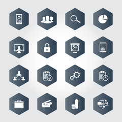 16 business hexagonal icons vector illustration, eps10
