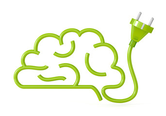 brain with plug. thinking concept