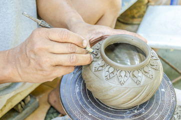 Thai people making clay potery