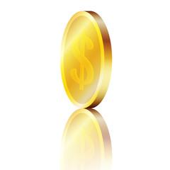 Moneta d'oro con riflesso