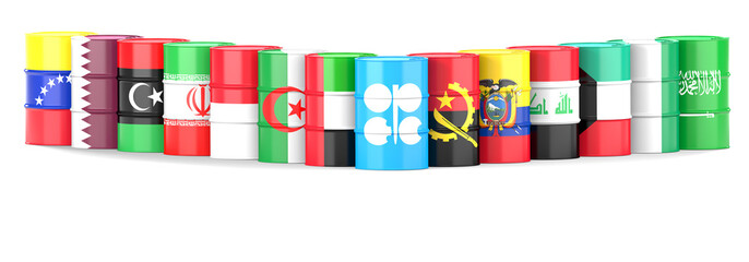 Organization Of The Petroleum Exporting Countries flags and oil