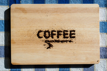 Coffee sign on a table