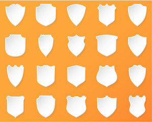 Shiny White Shields on a  Orange Background.