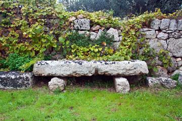 stone bench in the Garden