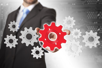 Businessman gears concept