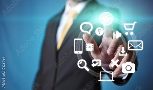 canvas print picture Businessman multimedia concept