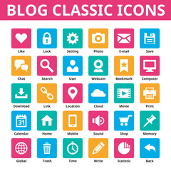 Blog vector icons set in color of flat style design.