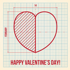 Original Valentine's Day card on graph paper