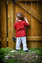 Peeping Toddler Looking Through Garden Gate