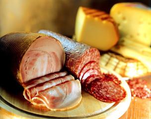 Variety of cheeses, salami and bacon