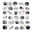 Sea shells and starfish set. Vector illustration.