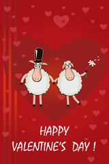 Two funny cartoon sheeps with red heart background. Happy Valent