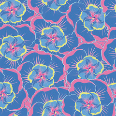 seamless blue background with blue hibiscus flowers.