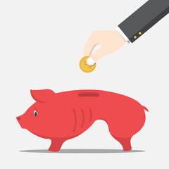 Businessman will dropping the coin into the skinny pig money box