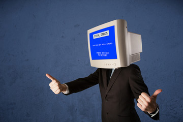 Person with a monitor head and fatal error blue screen on the di