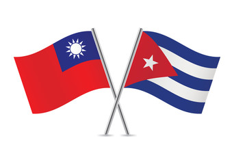 Cuban and Taiwanese flags. Vector illustration.
