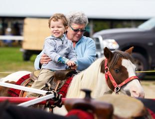 Happy Boy on a Pony Ride