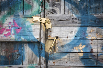 ancient wooden door painted in blue