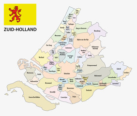 south holland administrative map with flag