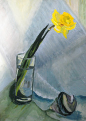 Traditional painting of a yellow narcissus flower