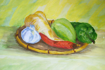 Still life composition of fresh fruits and vegetables