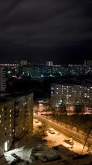 Вертикальная панорама ночного города спальный район Перми Россия