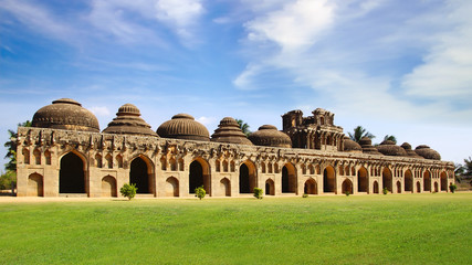 Ancient ruins of Elephant Stables. Hampi, India.