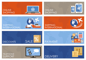 Internet shopping, e-commerce, online shopping banners set.