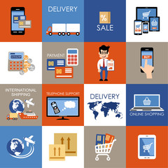 Internet shopping, e-commerce, online shopping set icons.