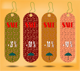 Three hanging tags with text Sale , tags made from dotted