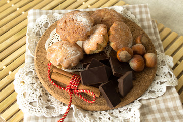 cookies on a wooden plate