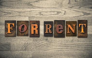 For Rent Wooden Letterpress Concept