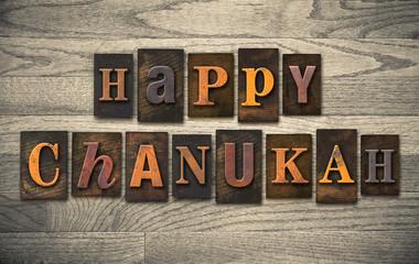Happy Chanukah Wooden Letterpress Concept