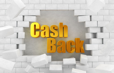 "The text of the golden ""CashBack"" in the destroyed wall"