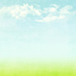 canvas print picture - Blue sky, clouds and green field summer background