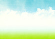 Blue sky, clouds and green field summer background - 76267958