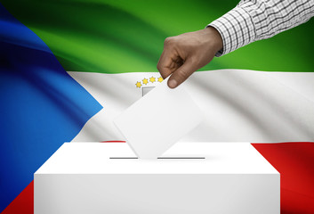 Ballot box with national flag on background - Equatorial Guinea