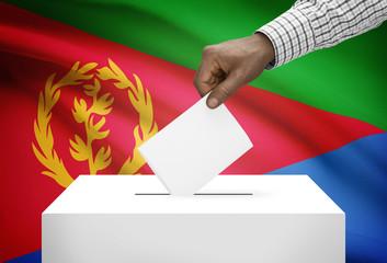 Ballot box with national flag on background - Eritrea