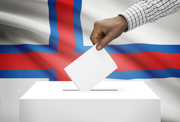 Ballot box with national flag on background - Faroe Islands